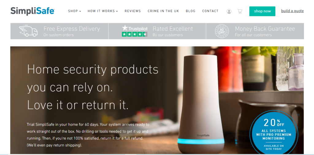 SimpliSafe Website screenshot